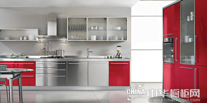 红色不锈钢橱柜图片 打造现代金属感厨房