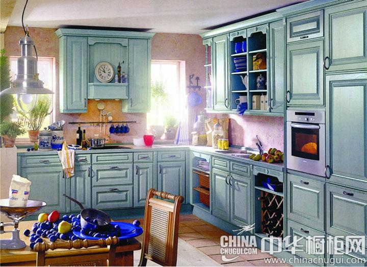 蓝灰色清新橱柜图片 卓尔不凡的气度