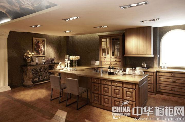 欧式风格模压板橱柜图片 开放式厨房装修效果图:欧式风格模压板橱柜