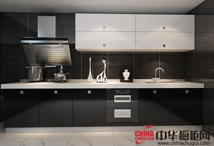 黑色橱柜图片 开放式厨房装修效果图