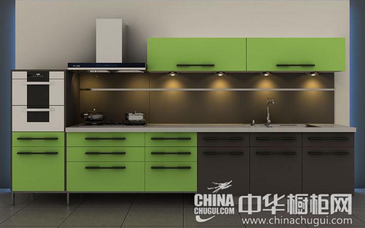 綠色櫥柜圖片 一字型廚房裝修效果圖
