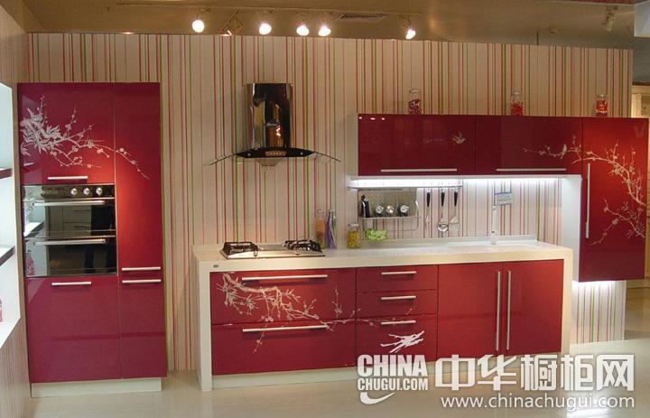 红色烤漆橱柜效果图 杰西卡橱柜图片
