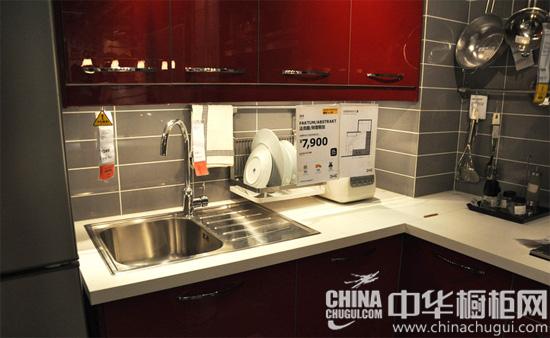 红色吧台橱柜设计 实用宜家风格