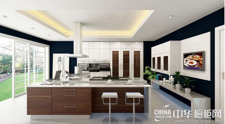 开放式厨房装修效果图 豪华而低调的橱柜