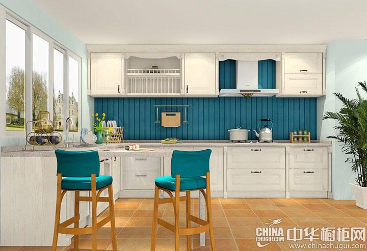 田园风格橱柜效果图 清新靓丽的厨房空间