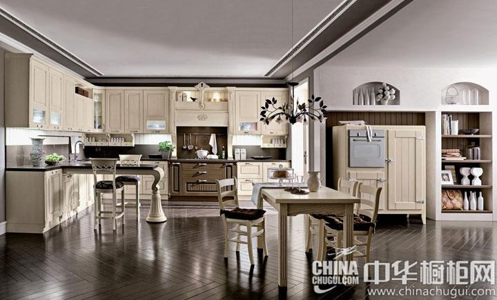 大户型厨房装修效果图 复古而充满艺术感