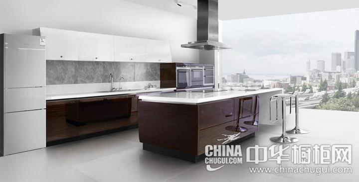 棕白色调的厨房 现代风格橱柜图片