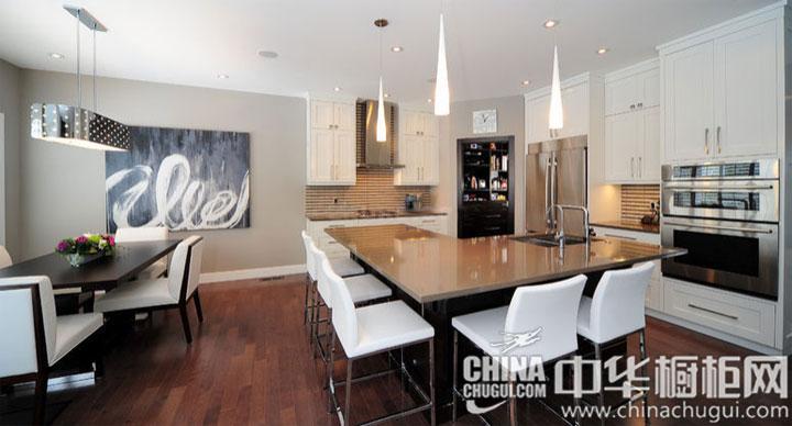 开放式厨房装修效果图 L形岛台设计