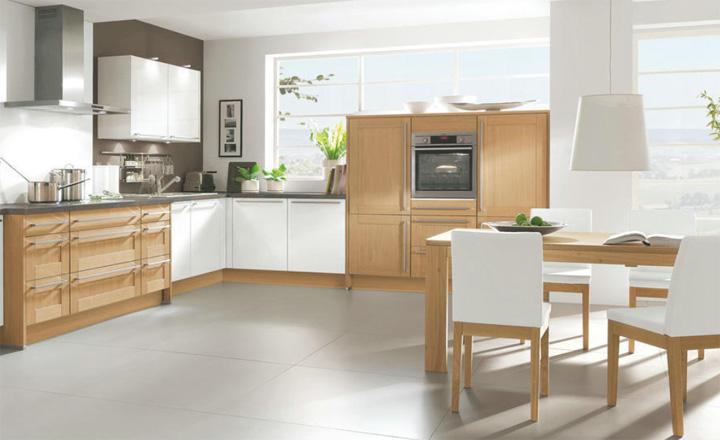 木色白色组合  简约风格橱柜图片