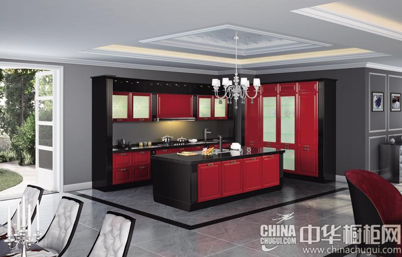 冷静黑包容贵族红 新古典风格橱柜图片