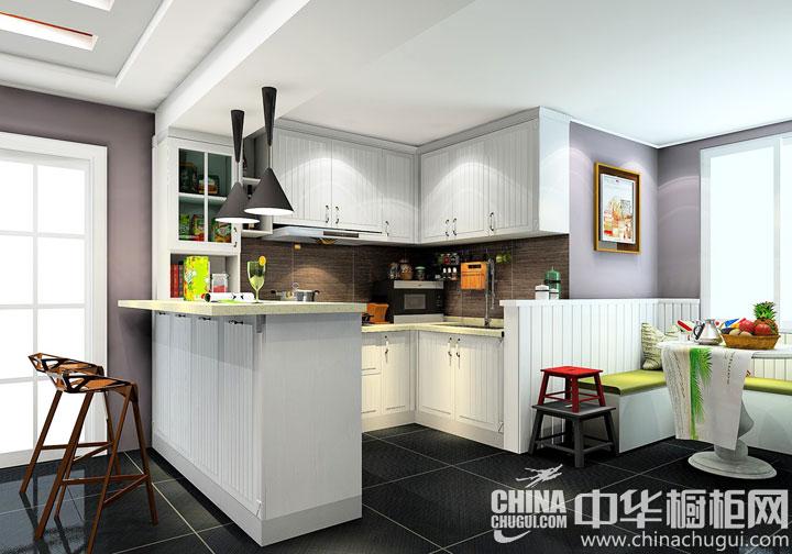开放式厨房装修效果图 厨房结合卡座的设计