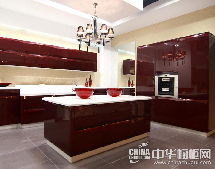 现代简约橱柜效果图 红色野性厨房