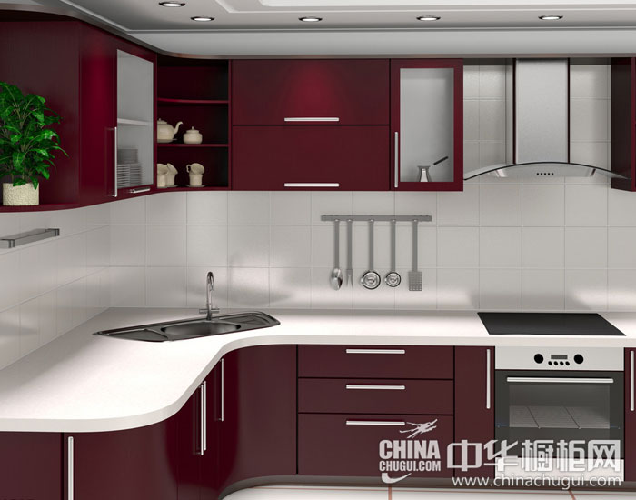 现代简约橱柜效果图 红色橱柜带来璀璨生活