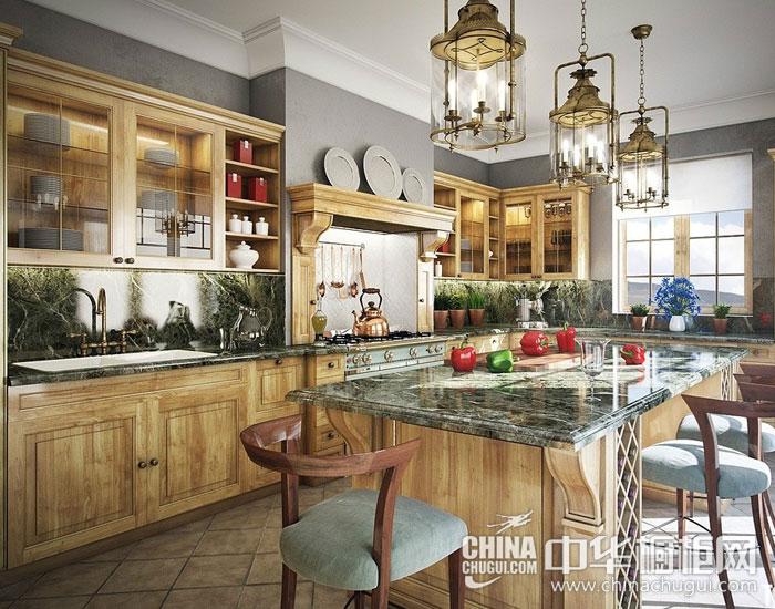 美式乡村整体厨房效果图片 围塑奢华经典