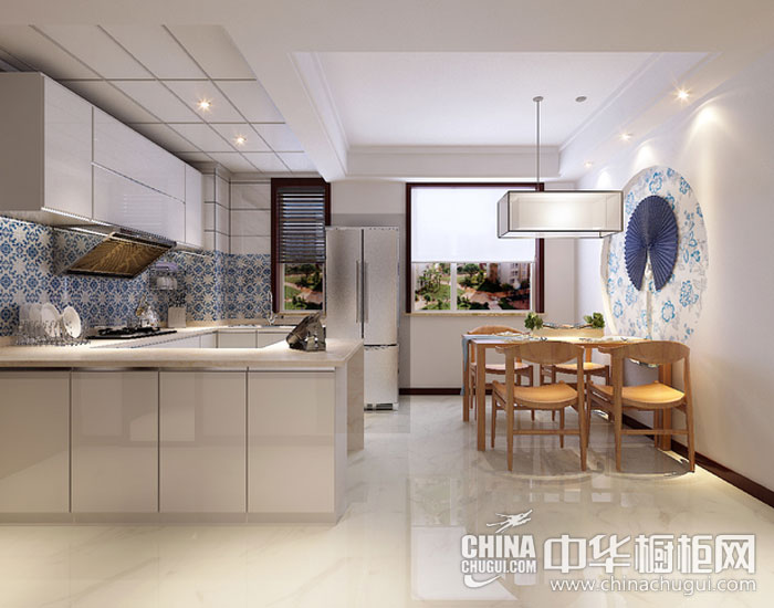 复古中式情调—青花瓷 新中式风格橱柜图片