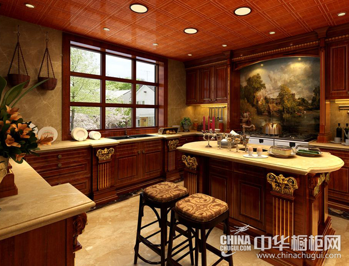回味醇美欧式梦 欧式风格橱柜图片:厨房装修偏向欧式的感觉,从鎏金