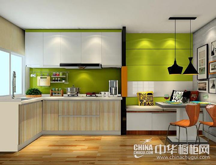 木色空间绿意点缀 现代风格橱柜效果图