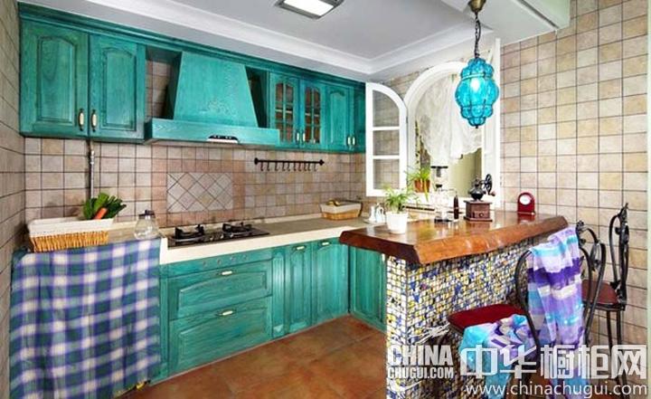 蓝绿地中海烙印 厨房装修效果图