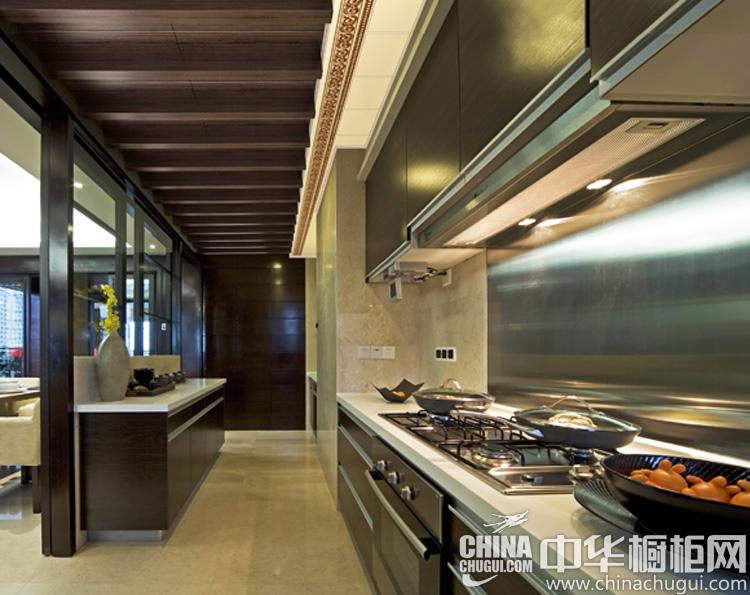 新中式厨房装修效果图 一方沉木品味人生