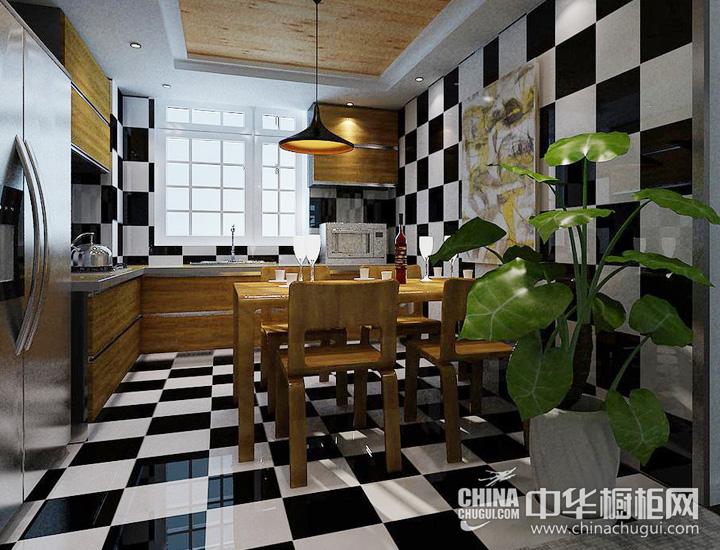 黑白方块点缀餐厨空间 现代简约橱柜图片