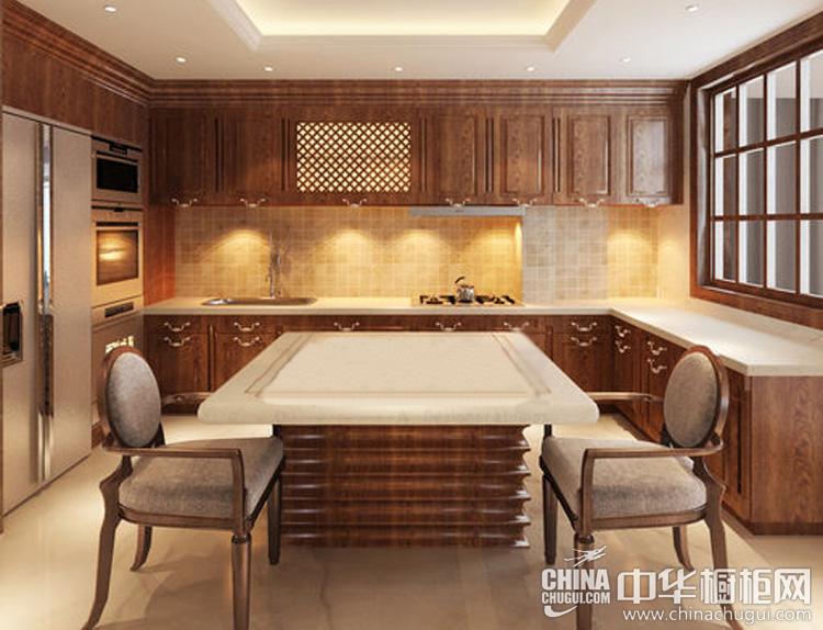 中式橱柜设计效果图 儒雅得体的开放式厨房