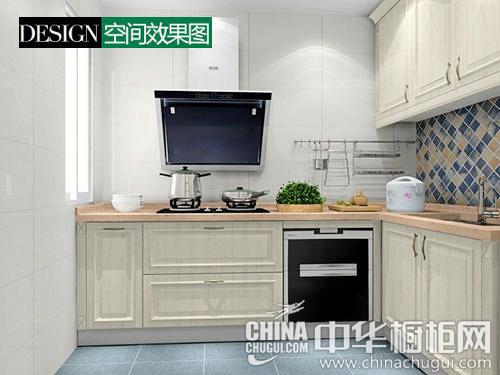 这个厨房充满欧式简约的韵味,简单的一字型布局,让厨房显得非常整洁.