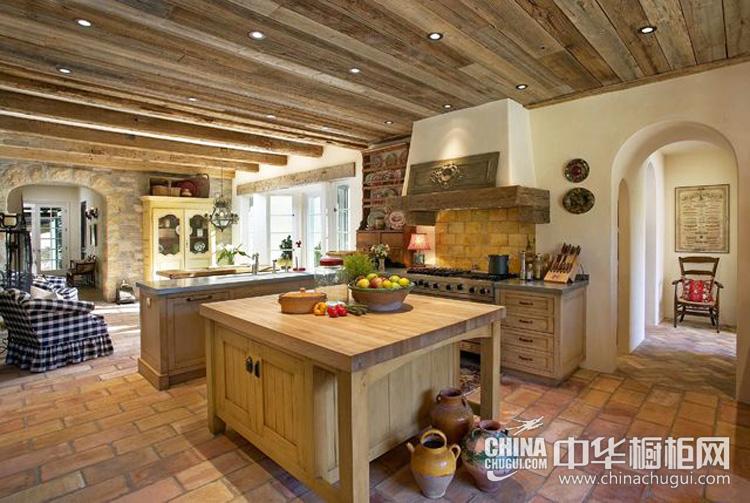 美式乡村风格橱柜图片 仿古木质营造文艺风