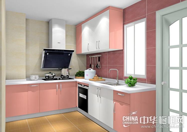 粉色系橱柜效果图 小户型厨房首选的设计