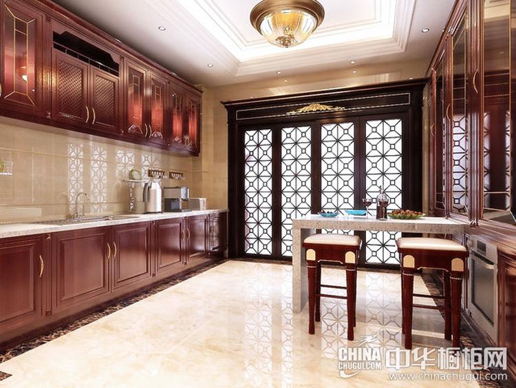 古韵中式厨房装修效果图 一字型格局彰显贵族格调