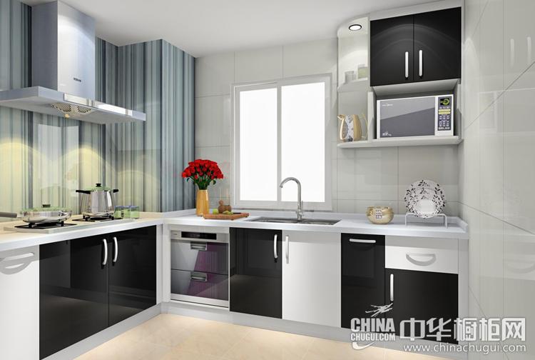 现代风格厨房装修效果图 黑白琴键相互辉映