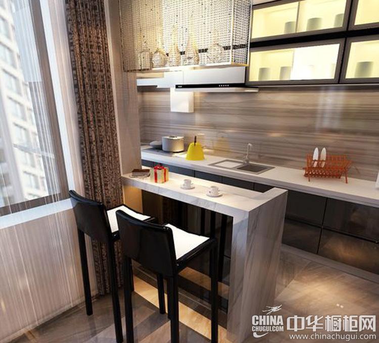 极简案例之厨房装修效果图 橱柜小吧台彰显大作用