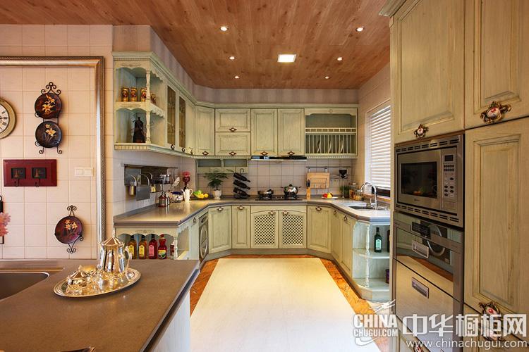 薄荷绿整体橱柜图片 会呼吸的田园风格厨房