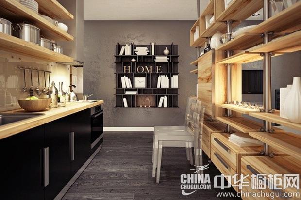 木质厨房装修效果图 大自然赋予的收纳式隔断