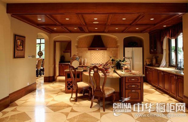 中式风格橱柜图片 开放式厨房里的拱形元素