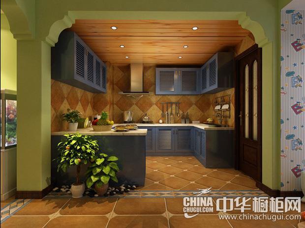 春天色系厨房图片 U型橱柜点缀美图