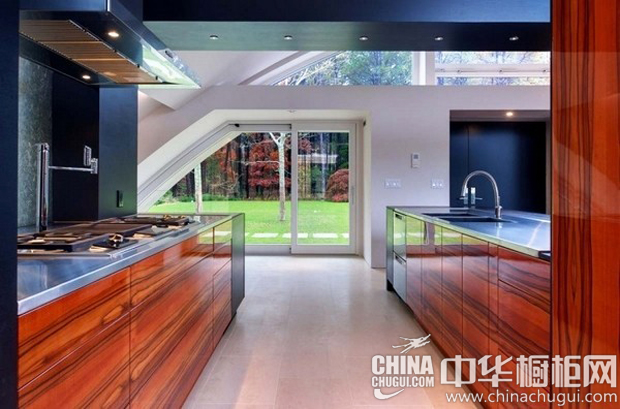 二字型原木色橱柜图片 现代家居里的自然元素