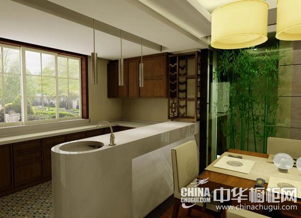 新中式风格厨房图片 光源分隔餐厨区域
