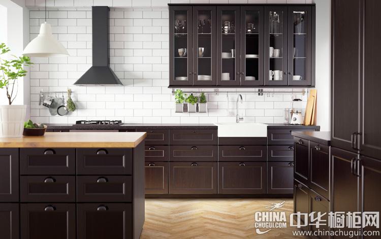 深棕色英式整体橱柜图片 古典摩登系列厨房设计