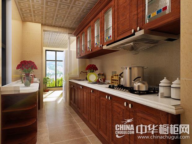 新中式风格厨房装修效果图 实木橱柜塑造厨房的文化底蕴
