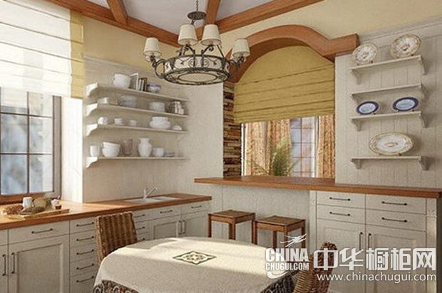 美式乡村风格厨房装修效果图 简约型整体橱柜营造宁静氛围