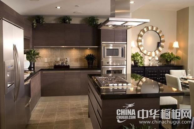 经典咖啡色整体橱柜效果图 凸显大气简约厨房气质