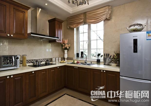 棕色调厨房整体橱柜效果图 延续厨房的原始与传统韵味