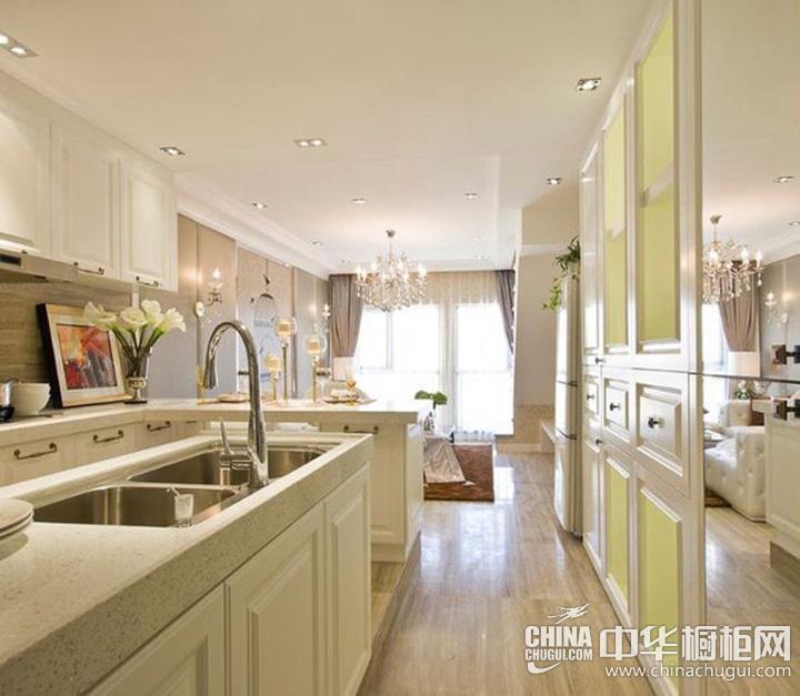开放式厨房装修效果图 简约风格L型橱柜提升厨房光线