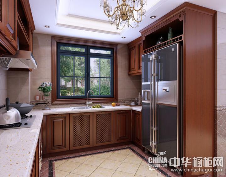 美式风格家庭厨房装修效果图 整体橱柜凸显视觉柔滑之美