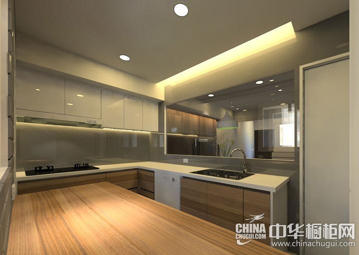 小户型厨房效果图 原木色整体橱柜图片