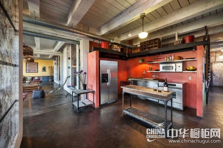 工业风整体橱柜效果图 开放式厨房图片
