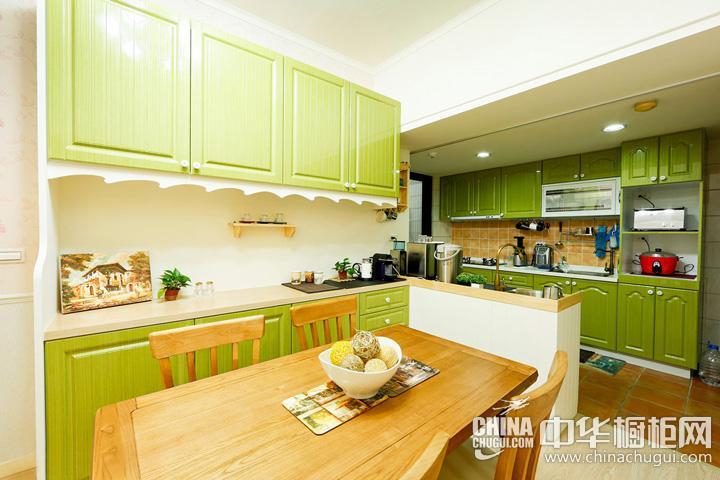 田园风格橱柜效果图 绿色橱柜图片