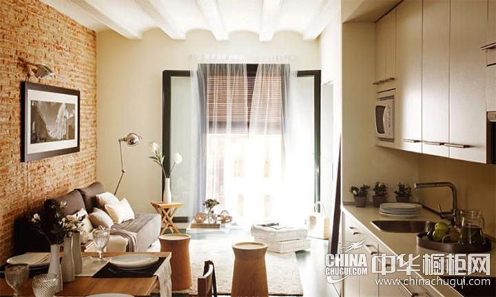 厨房客厅一体装修图 简约风格整体橱柜图片