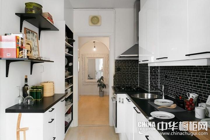家庭厨房装修效果图 一字型橱柜图片