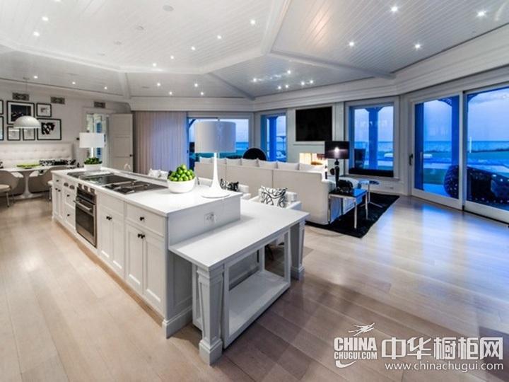 客厅厨房一体装修图 整体橱柜图片